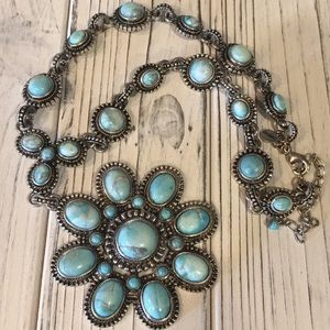 EXPRESS Turquoise and Silver Statement Necklace